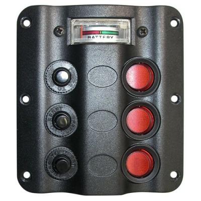 """Панель выключателей серии """"Wave"""", 3 клавиши + вольтметр"""