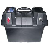 Бокс для аккумулятора с силовыми контактами, вольтметром, прикуривателем и ручкой для переноски