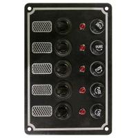 Панель выключателей, 5 тумблеров с колпачками, светодиодные индикаторы, алюм