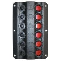 Панель выключателей «Wave», 6 клавиш, 6 предохранителей, 160х100 мм