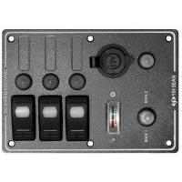 Панель выключателей «Marina», 3 клавиши, 4 автоматических предохранителя, вольтметр с переключателем на 2 аккумулятора, 95,25х133,35 мм