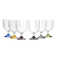 Прозрачные бокалы «Party», цветные ножки, 7х11,2 см, 6 шт