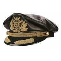 Капитанка кожаная, черная с вышивкой