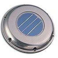 Вентилятор на солнечный батареях, низкопрофильный корпус из нержавеющей стали  диаметр 21см высота 8