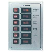 Панель выключателей с предохранителями, 6 клавиш, белая