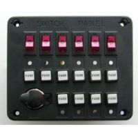 Панель выключателей c 6 клавишами, 10 предохранителями и гнездом под малый штекер